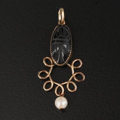 Vintage Carved Black Onyx and Pearl Scarab Pendant