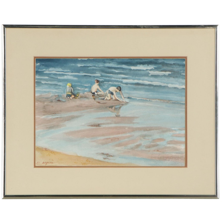 Watercolor Painting of Beach Scene with Children, 1987