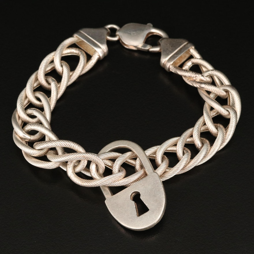 Italian Sterling Braided Cable Padlock Motif Bracelet