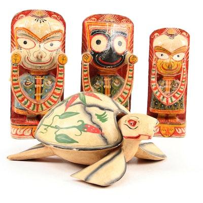 Jagannath, Balabhadra and Subhadra Hindu Idols with Carved Wood Turtle