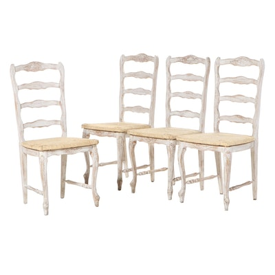 Four French Provincial Style Painted Beech Side Chairs