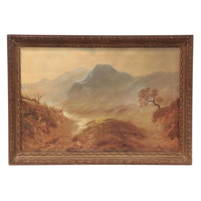 R. Maes Oil Painting of Romantic Landscape, Late 19th-Early 20th Century