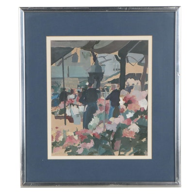 Gouache Painting of Flower Market, Mid-Late 20th Century