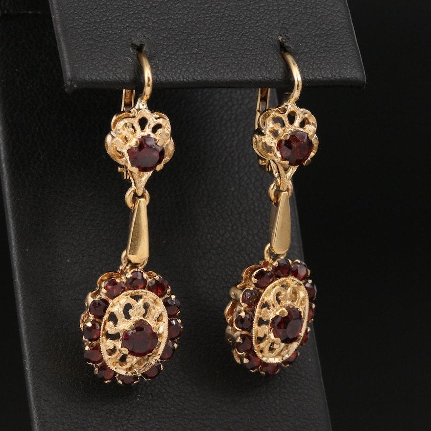 Italian 18K Garnet Drop Earrings