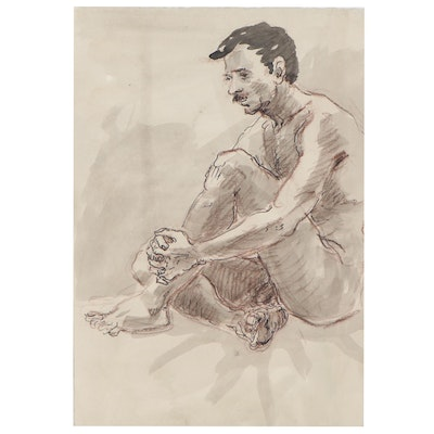 Lois Davis Double-Sided Mixed Media Drawing of Seated Male Nudes