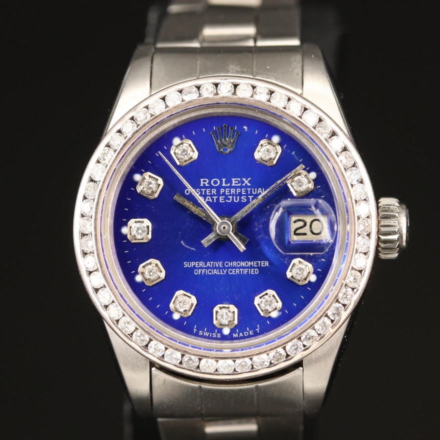 "1978 Rolex ""Datejust"" Diamond Dial and Bezel Stainless Steel Wristwatch"