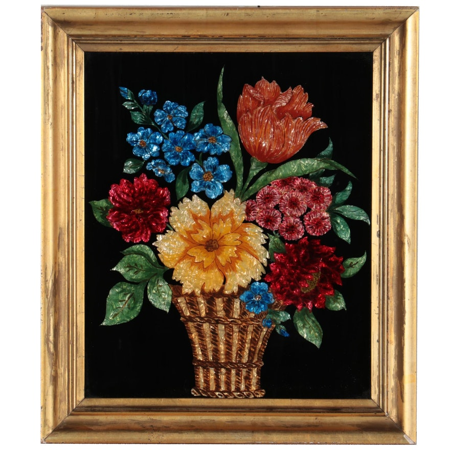 Floral Still Life Reverse Glass Painting with Foil, Early 20th Century