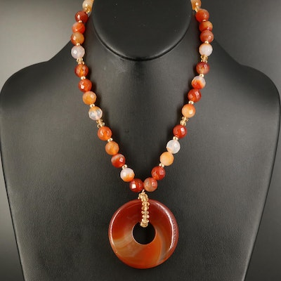 14K Agate and Citrine Beaded Necklace