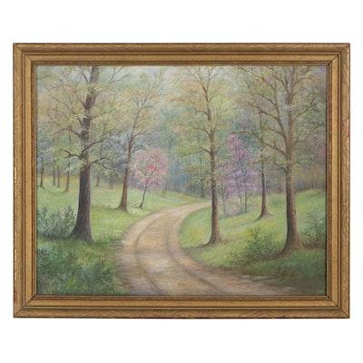 "Paul Plymate Oil Painting ""Spring Road,"" 1976"