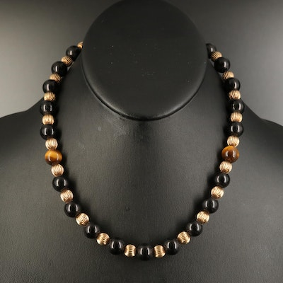 Black Onyx and Tiger's Eye Beaded Necklace with Gold Filled Fluted Beads
