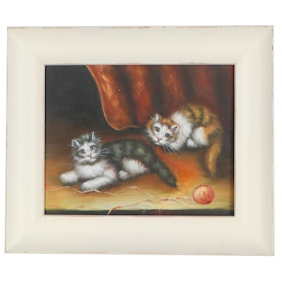 Oil Painting of Cats with Yarn, 21st Century