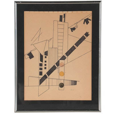 Constructivist Style Pen and Ink Drawing, Mid-20th Century