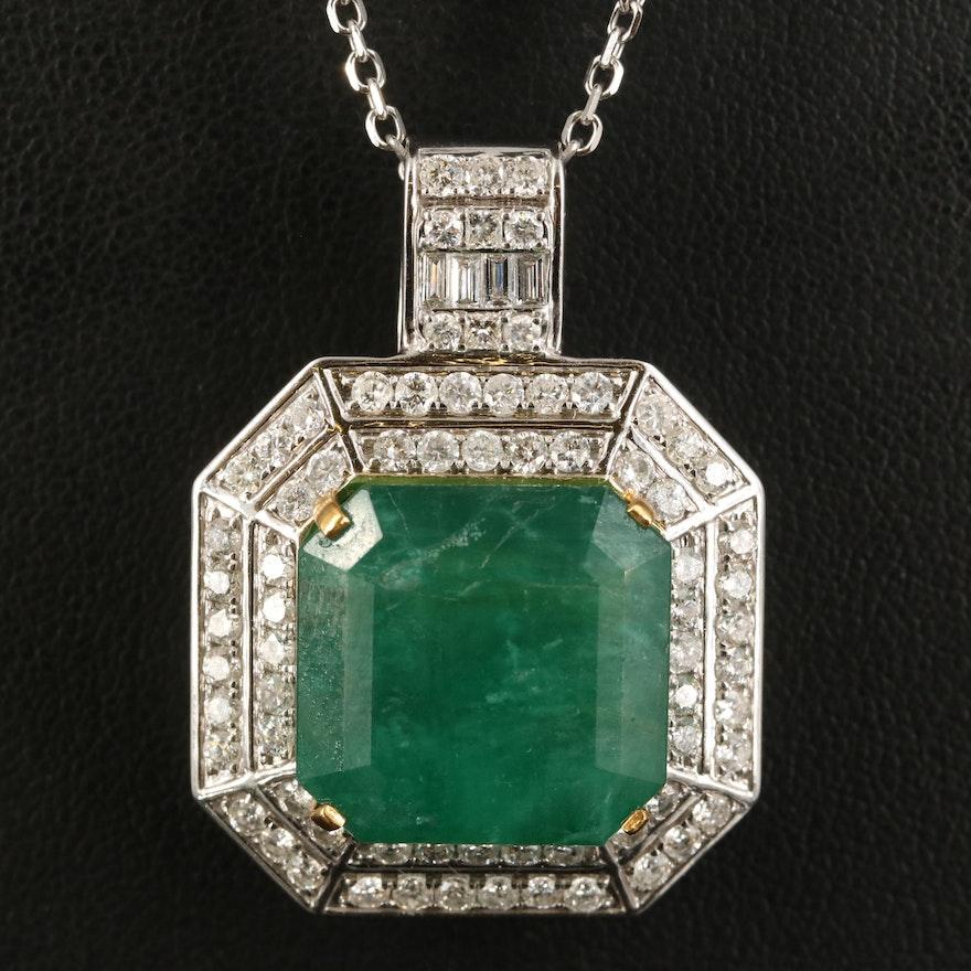 14K 35.85 CT Emerald and  2.83 CTW Diamond Pendant Necklace