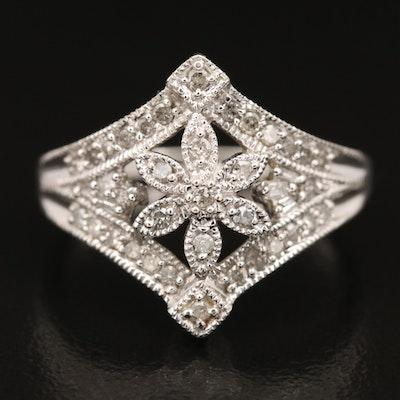 10K Diamond Ring with Flower Pattern