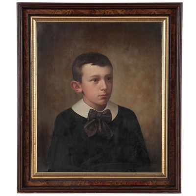 Portrait Oil Painting of Young Boy, 19th Century