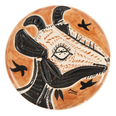 Glazed Ceramic Plate after Pablo Picasso of Goat, 1993