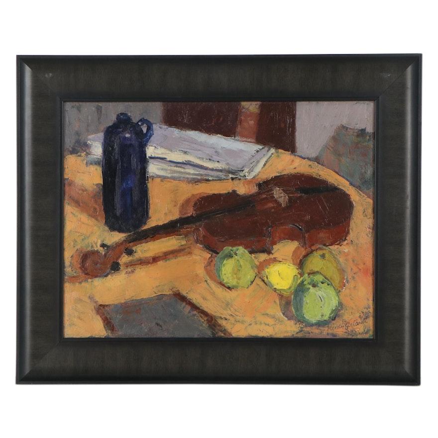 "Herdis Gelardi Oil Painting ""Still Life With Violin,"" Mid-Late 20th Century"