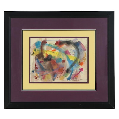 Debra Fadely Abstract Expressionist Pastel Drawing, 1997