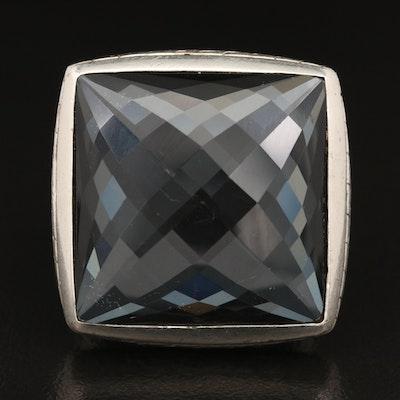 John Hardy Sterling Hematite and Quartz Doublet Ring