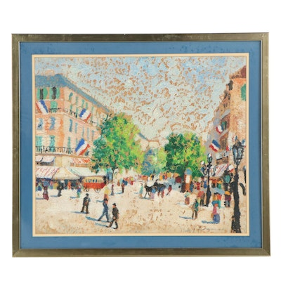 French Street Scene Oil Painting, Mid-20th Century