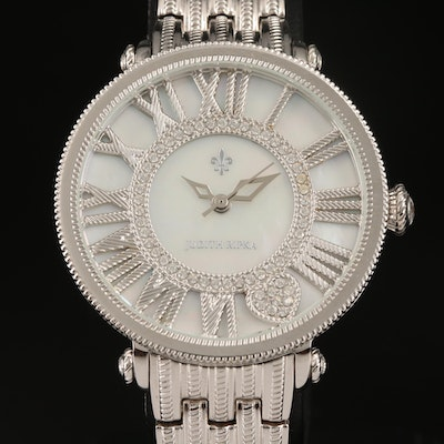 Judith Ripka Mother of Pearl Dial Wristwatch with Glass Crystal Accents