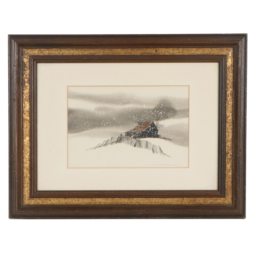 Robert O'Dell Watercolor and Gouache Painting of Rural Cabin in Snowstorm