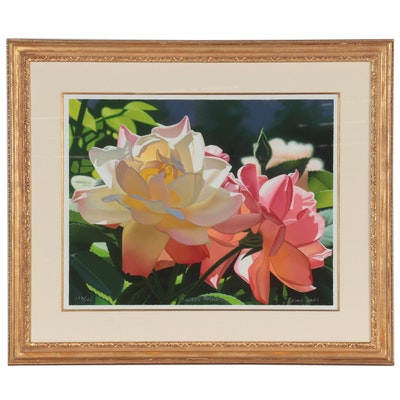"""Brian Davis Offset Lithograph """"Sandy's Roses,"""" Late 20th Century"""