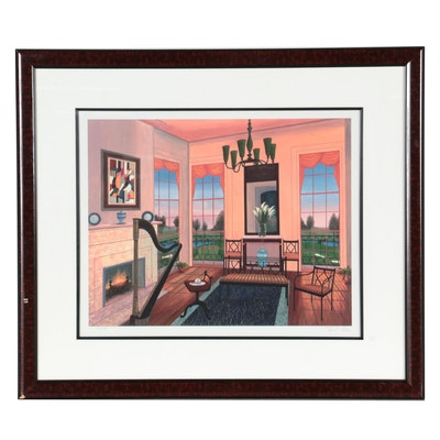 "Fanch Ledan Giclée ""Interior with Harp,"" Late 20th Century"