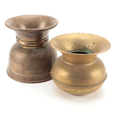 Santa Fe Railroad Collectible and Other Brass Spittoon, 20th Century