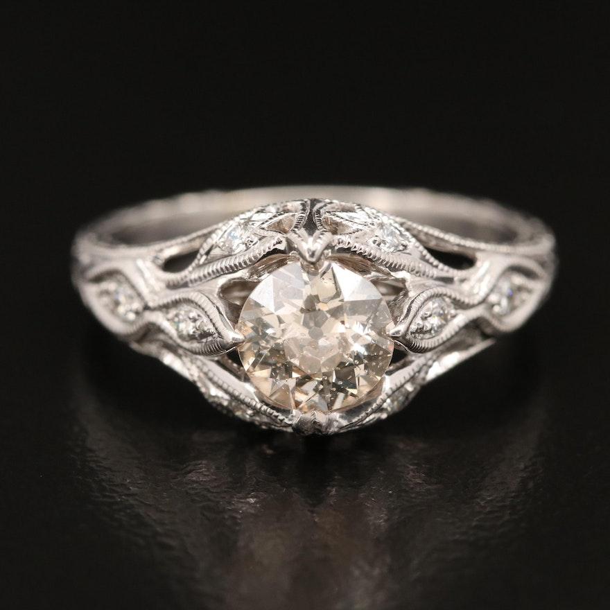 14K 1.11 CTW Diamond Ring with Milgrain Detail