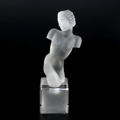 "Eleon von Rommel Art Deco Style Frosted Glass Sculpture ""Nude Torso"""