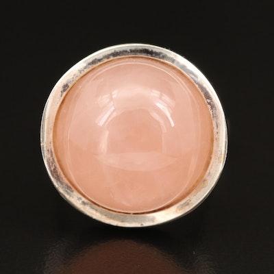 Modernist Style Sterling Silver Rose Quartz Ring