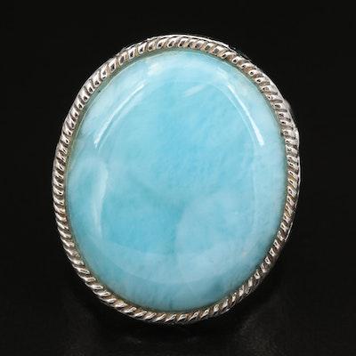 Sterling Silver Larimar, Topaz and Lapis Lazuli Ring