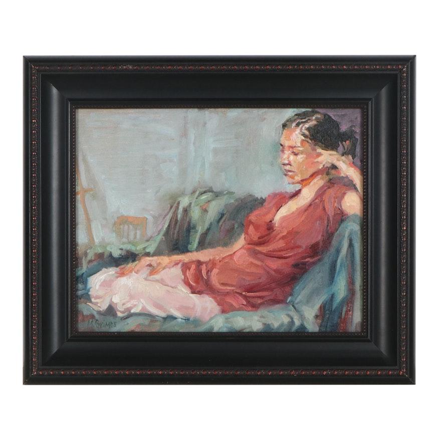 Melissa Grimes Portrait Oil Painting of Reclining Woman, 21st Century