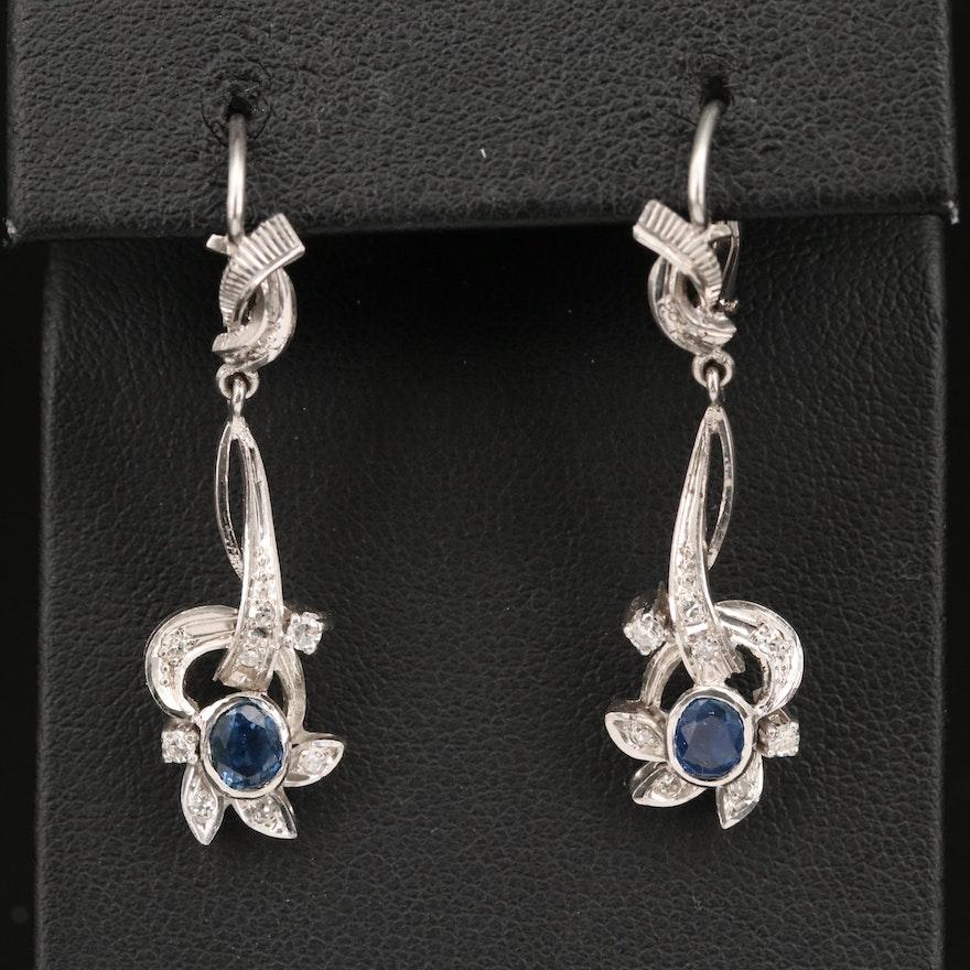 18K Sapphire and Diamond Earrings