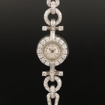 18K Omega Backwind 1.29 CTW Diamond Wristwatch