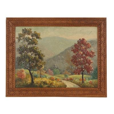 "Maurice Tanner Oil Painting ""Autumn Mountain Path,"" Mid-Late 20th Century"