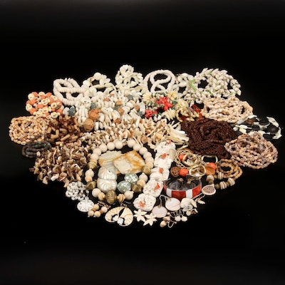 Vintage Jewelry with Mother of Pearl, Coral and Gemstone