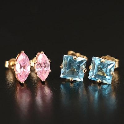 14K Swiss Blue Topaz and Cubic Zirconia Stud Earrings