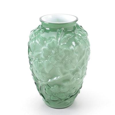 Molded Green Cased Glass Dogwood Vase, Mid-20th Century