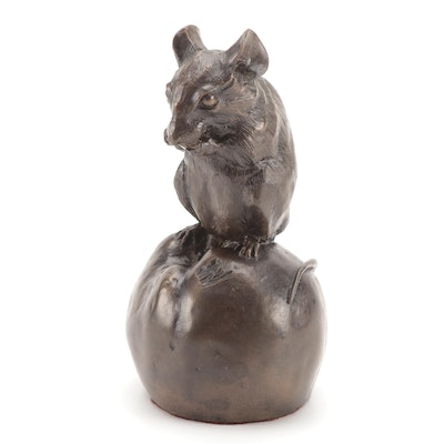 English Heredities Cold Cast Bronze Mouse on Apple, Late 20th Century