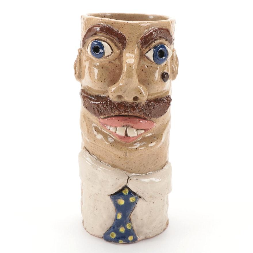 Folk Art Pottery Face Vase, 1984