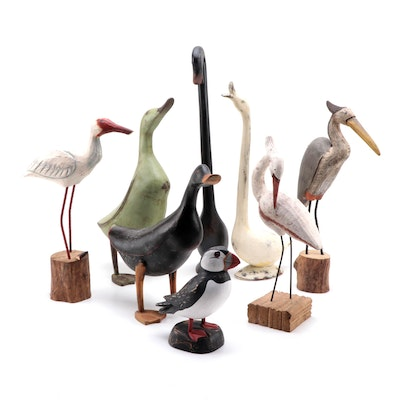 Folk Art Hand-Carved and Painted Wood Waterfowl and Shorebird Figurines
