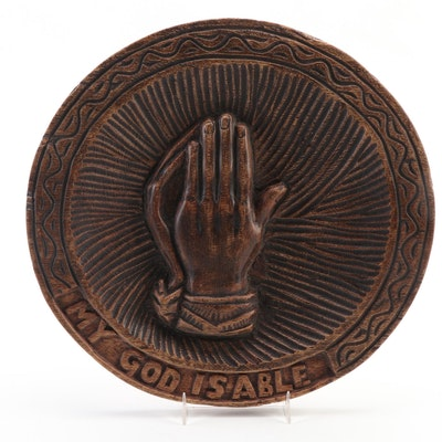 Folk Art Hand-Carved Praying Hands Wall Plaque, Mid to Late 20th Century