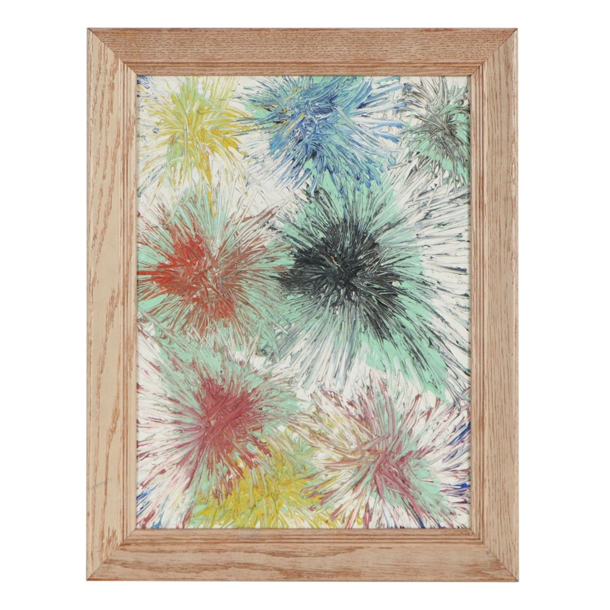 Abstract Oil Painting of Colorful Bursts