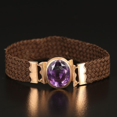 Victorian 14K 15.83 CT Amethyst and Woven Hair Mourning Bracelet