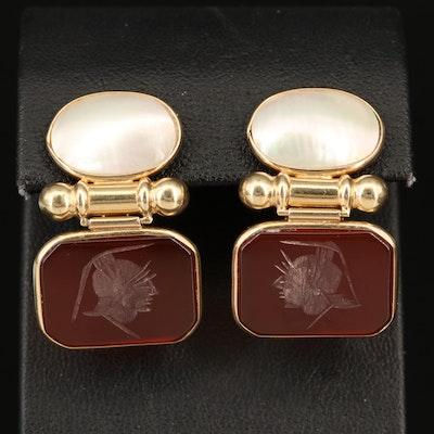 10K Pearl and Carnelian Intaglio Cameo Earrings