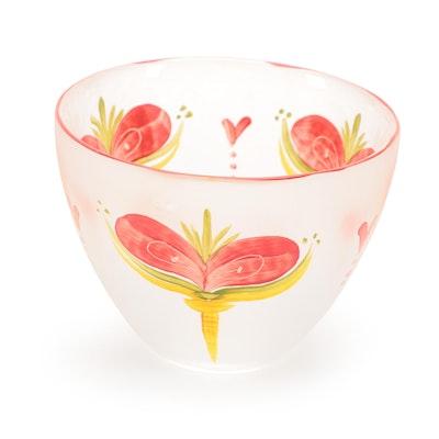 Lena Engman for Kosta Boda Sea Glasbruk Hand-Painted Art Glass Bowl