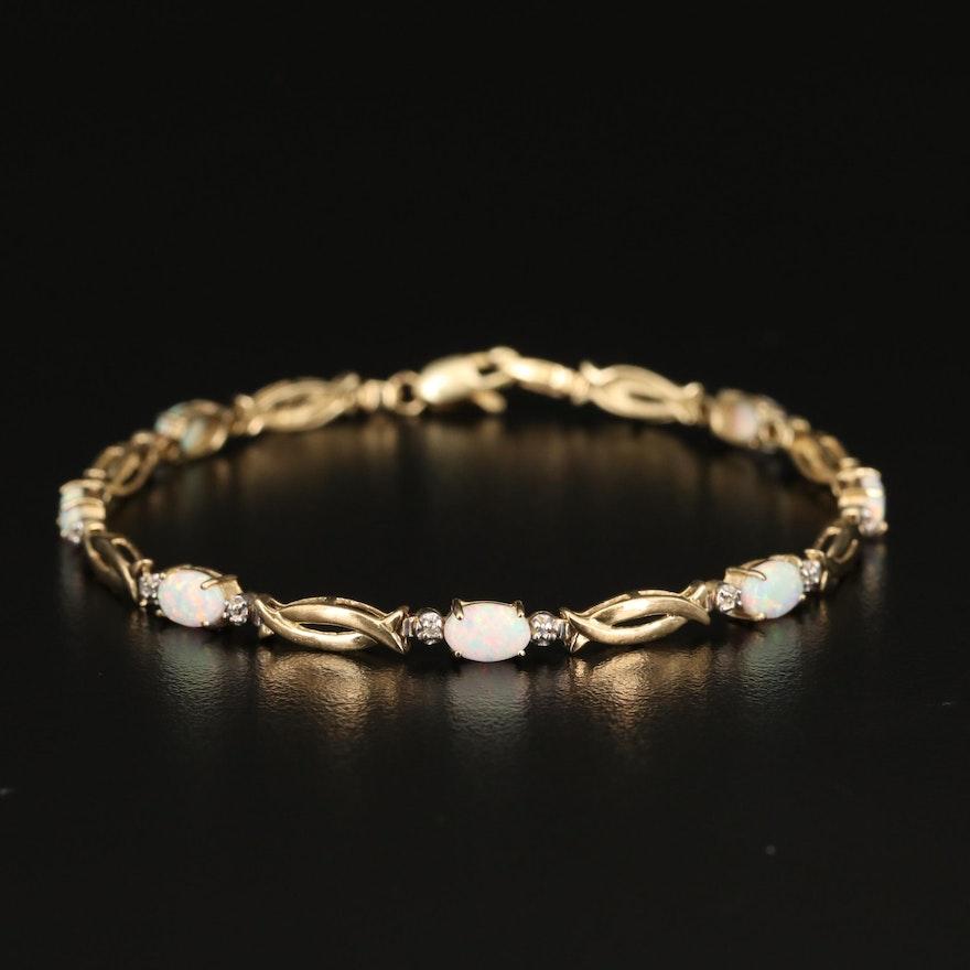 10K Opal and Diamond Bracelet