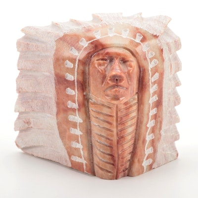 Hand-Carved Soapstone Native American Bust